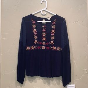 Miami navy blue blouse with flower embroidery